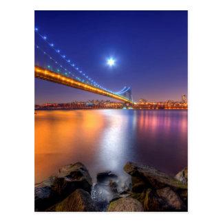 Crepúsculo, George Washington BridgePalisades, NJ. Tarjeta Postal