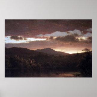 Crepúsculo por la iglesia de Frederick Edwin Posters
