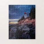 Crepúsculo sobre el faro bajo del puerto, Acadia Rompecabezas Con Fotos