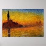 Crepúsculo, Venecia de Claude Monet Poster