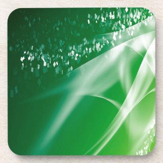 Crepúsculo verde de los cristales abstractos posavasos de bebida