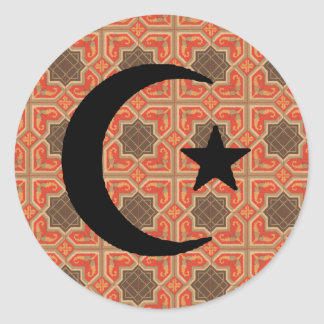 Crescent and Star with Persian Tile Background Classic Round Sticker