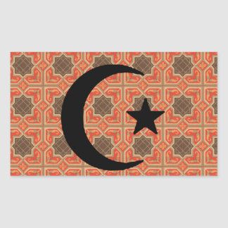 Crescent and Star with Persian Tile Background Rectangular Sticker