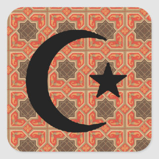 Crescent and Star with Persian Tile Background Square Sticker