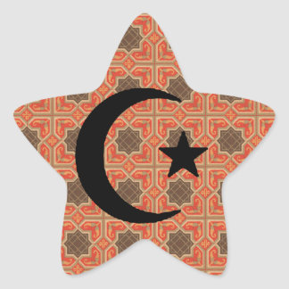 Crescent and Star with Persian Tile Background Star Sticker