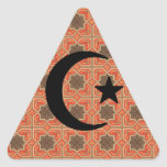 Crescent and Star with Persian Tile Background Triangle Sticker