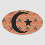 Crescent and Star with Persian Tile Background Stickers
