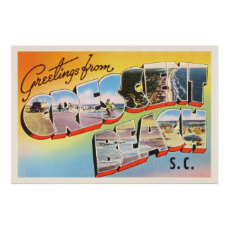 Crescent Beach South Carolina SC Vintage Postcard- Poster