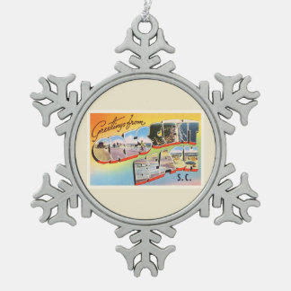 Crescent Beach South Carolina SC Vintage Postcard- Snowflake Pewter Christmas Ornament