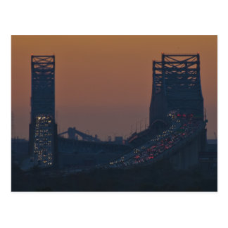Crescent City Bridge Sunset NOLA Postcard