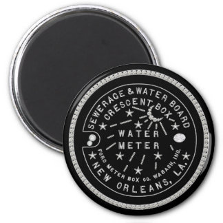 Crescent City Water Board Box Cover Faux Diamonds 2 Inch Round Magnet