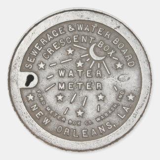 Crescent City Water Meter Cover Round Stickers Round Sticker