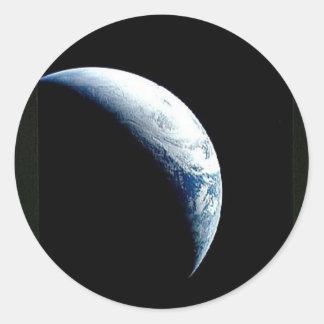 crescent earth classic round sticker