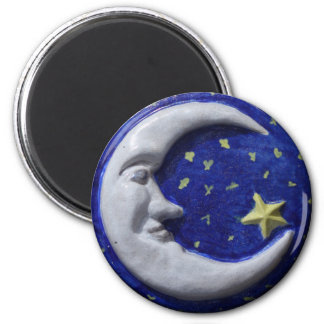 Crescent Moon 2 Inch Round Magnet