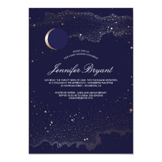 Crescent Moon and Night Stars Baby Shower Card