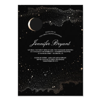Crescent Moon and Night Stars Bridal Shower Card