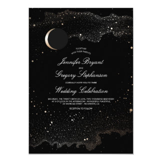 Crescent Moon and Night Stars Modern Wedding Card