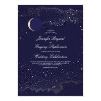 Crescent Moon and Night Stars Navy Wedding Card
