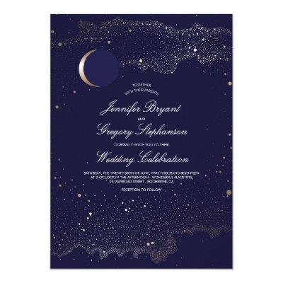 Evening Navy Under The Stars Wedding Invitations