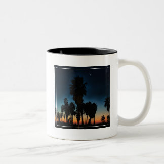 Crescent Moon And One Star On Sunset Two-Tone Coffee Mug