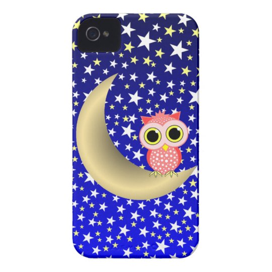 crescent moon and owl iPhone 4 cover