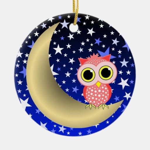 crescent moon and owl ornaments