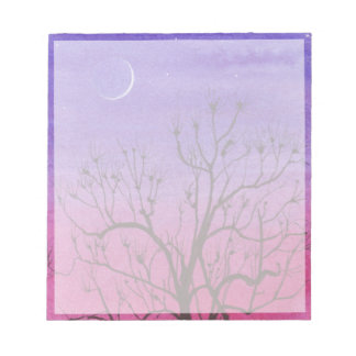 Crescent Moon and Peculiar Tree Notepad