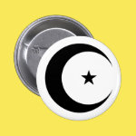 Crescent Moon and Star in Black 2 Inch Round Button