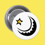 Crescent Moon and Star Swoosh Pinback Button