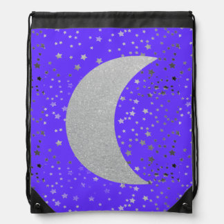 """""""Crescent Moon and Stars"""" Drawstring Backpack"""