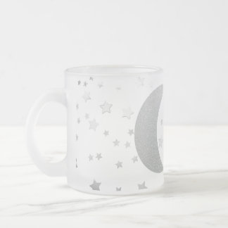 """Crescent Moon and Stars"" Frosted Coffee Mug"