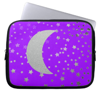 """""""Crescent Moon and Stars"""" Laptop Sleeve"""