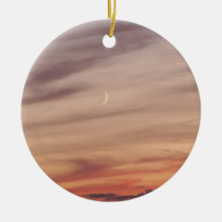 Crescent Moon at Dusk Double-Sided Ceramic Round Christmas Ornament