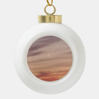 Crescent Moon at Dusk Ceramic Ball Christmas Ornament