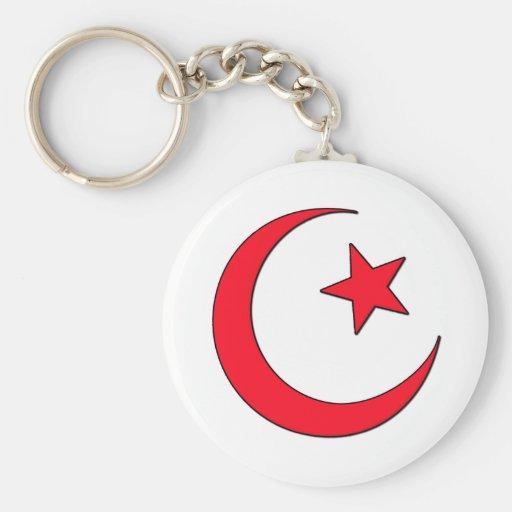 Crescent Moon Basic Round Button Keychain