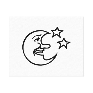 Crescent Moon Face and Stars Stretched Canvas Prints
