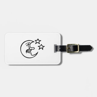 Crescent Moon Face and Stars Tag For Luggage