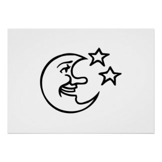 Crescent Moon Face and Stars Print