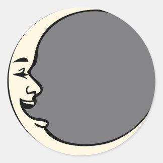 Crescent Moon Face Classic Round Sticker