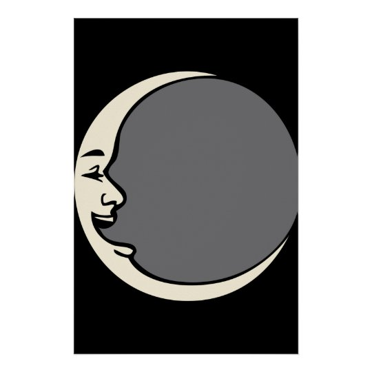 Crescent Moon Face Poster