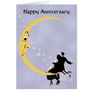 Crescent Moon Face Stars Couple Anniversary Greeting Card