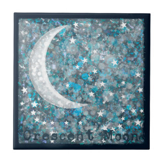 Crescent moon, galaxy and stars ceramic tile