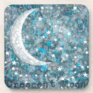 Crescent moon, galaxy and stars drink coaster