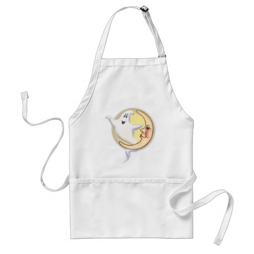 CRESCENT MOON & GHOST by SHARON SHARPE Aprons
