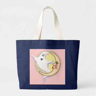 CRESCENT MOON & GHOST by SHARON SHARPE Large Tote Bag