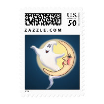 CRESCENT MOON & GHOST by SHARON SHARPE Postage