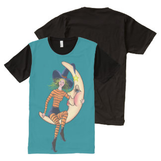 Crescent Moon & Girl by SHARON SHARPE All-Over Print Shirt