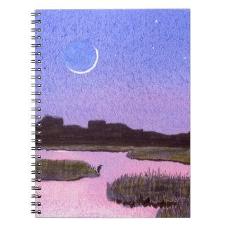 Crescent Moon & Heron in Twilight Marsh Notebook