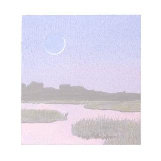 Crescent Moon & Heron in Twilight Marsh Notepad