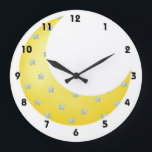 "Crescent Moon Large Clock<br><div class=""desc"">Cute clock for a child&#39;s room. Yellow crescent moon with pastel blue stars</div>"